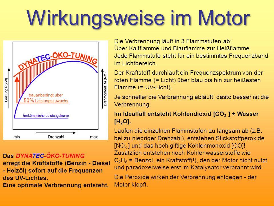 Wirkungsweise im Motor Die Verbrennung läuft in 3 Flammstufen ab: Über Kaltflamme und Blauflamme zur Heißflamme. Jede Flammstufe steht für ein bestimm