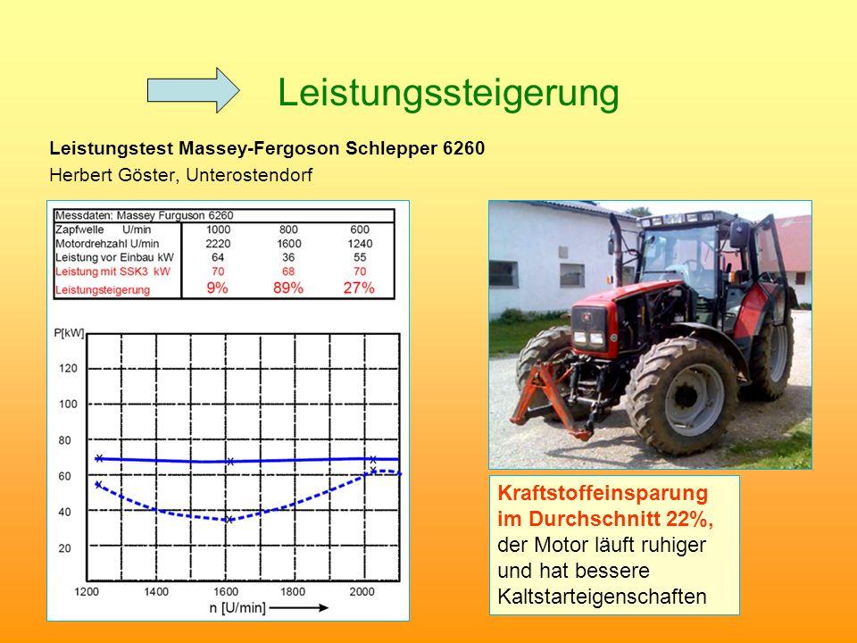 Leistungssteigerung Leistungstest Massey-Fergoson Schlepper 6260 Herbert Göster, Unterostendorf Kraftstoffeinsparung im Durchschnitt 22%, der Motor lä
