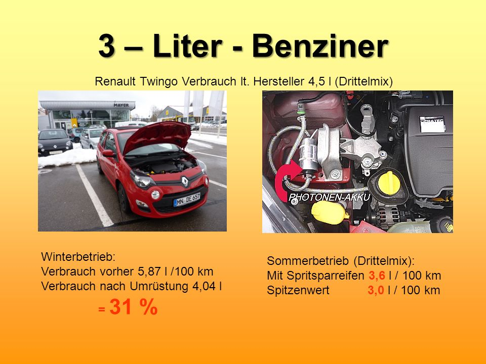 3 – Liter - Benziner Winterbetrieb: Verbrauch vorher 5,87 l /100 km Verbrauch nach Umrüstung 4,04 l = 31 % Sommerbetrieb (Drittelmix): Mit Spritsparre