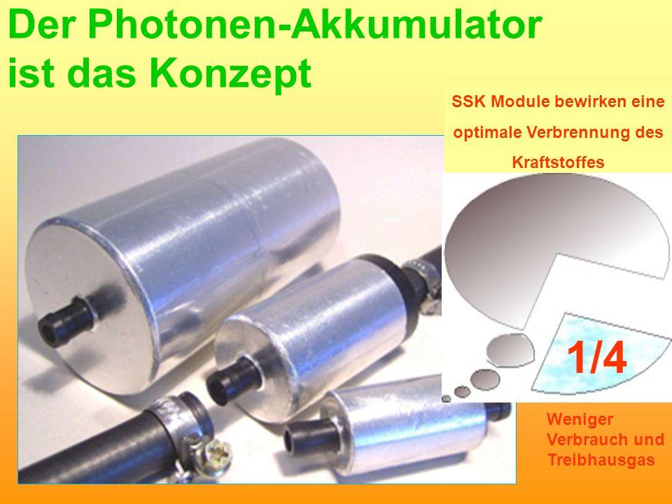 U.St SSK Module bewirken eine optimale Verbrennung des Kraftstoffes Der Photonen-Akkumulator ist das Konzept 1/4 Weniger Verbrauch und Treibhausgas