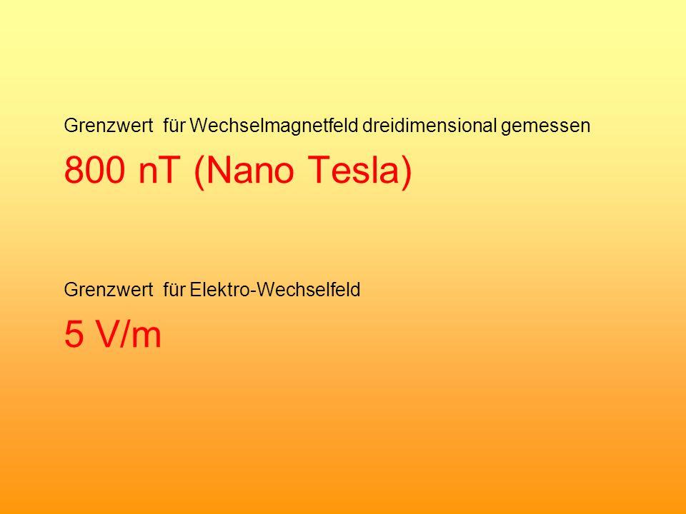 Grenzwert für Wechselmagnetfeld dreidimensional gemessen 800 nT (Nano Tesla) Grenzwert für Elektro-Wechselfeld 5 V/m
