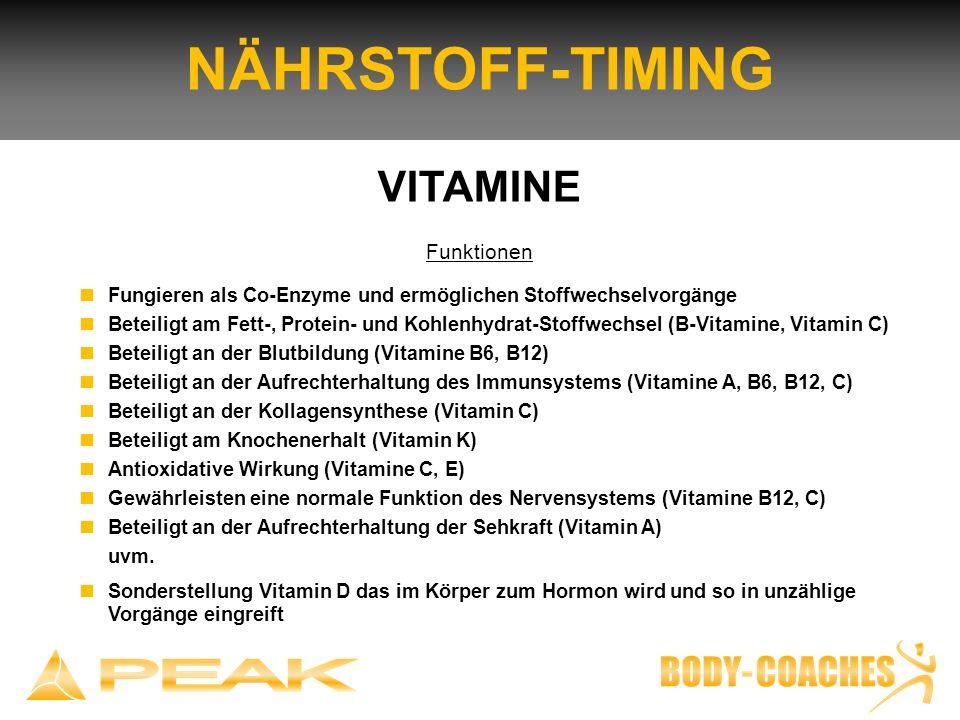 NÄHRSTOFF-TIMING VITAMINE Funktionen Fungieren als Co-Enzyme und ermöglichen Stoffwechselvorgänge Beteiligt am Fett-, Protein- und Kohlenhydrat-Stoffw