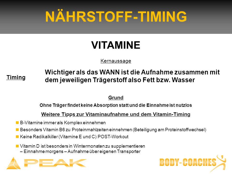 NÄHRSTOFF-TIMING Grund Ohne Träger findet keine Absorption statt und die Einnahme ist nutzlos Weitere Tipps zur Vitaminaufnahme und dem Vitamin-Timing