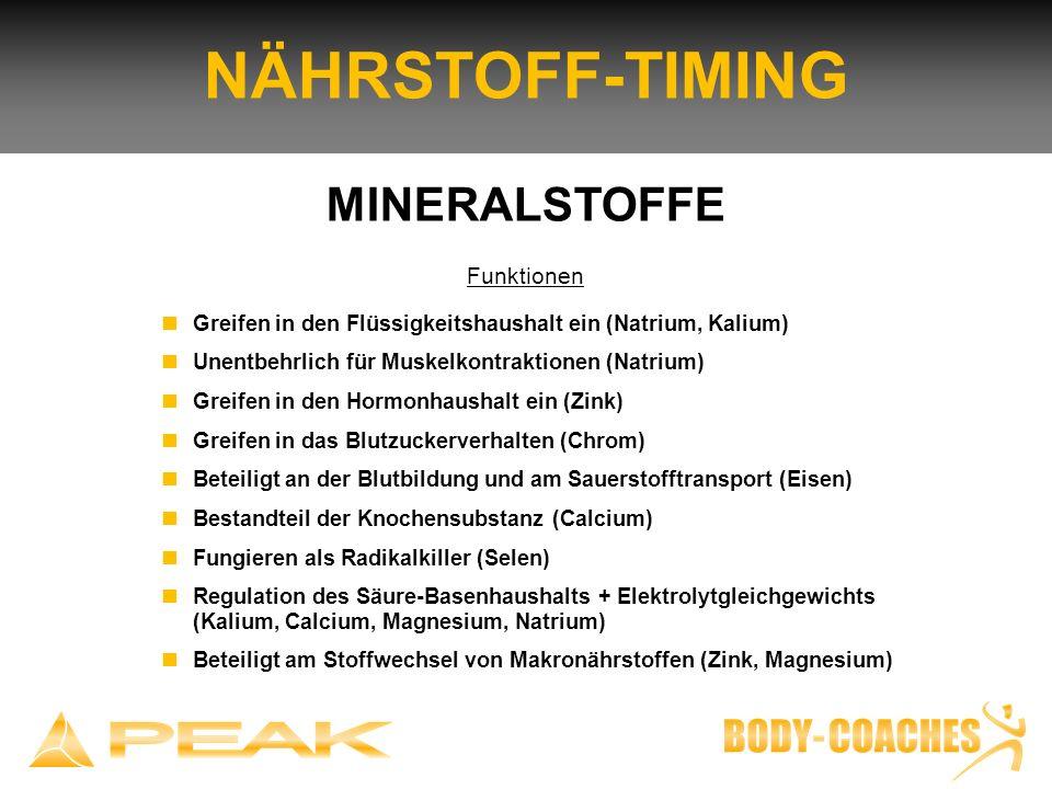 NÄHRSTOFF-TIMING MINERALSTOFFE Funktionen Greifen in den Flüssigkeitshaushalt ein (Natrium, Kalium) Unentbehrlich für Muskelkontraktionen (Natrium) Gr