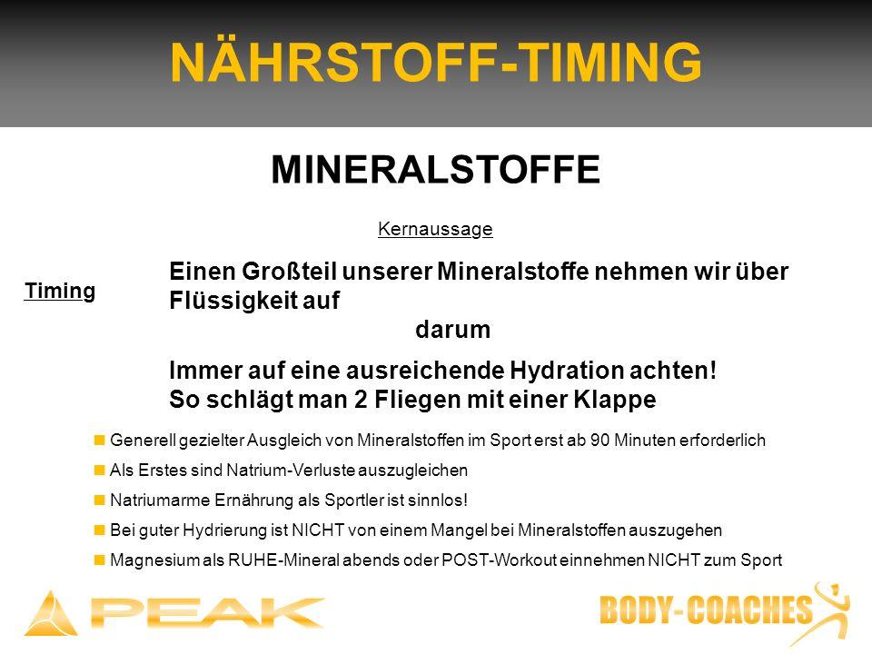 NÄHRSTOFF-TIMING MINERALSTOFFE Kernaussage Einen Großteil unserer Mineralstoffe nehmen wir über Flüssigkeit auf darum Immer auf eine ausreichende Hydr