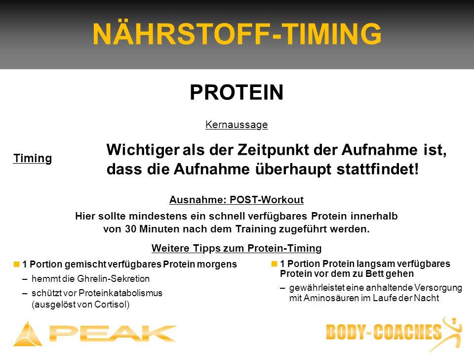Ausnahme: POST-Workout Hier sollte mindestens ein schnell verfügbares Protein innerhalb von 30 Minuten nach dem Training zugeführt werden. Weitere Tip
