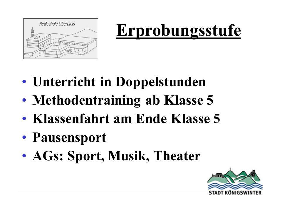 Erprobungsstufe Unterricht in Doppelstunden Methodentraining ab Klasse 5 Klassenfahrt am Ende Klasse 5 Pausensport AGs: Sport, Musik, Theater