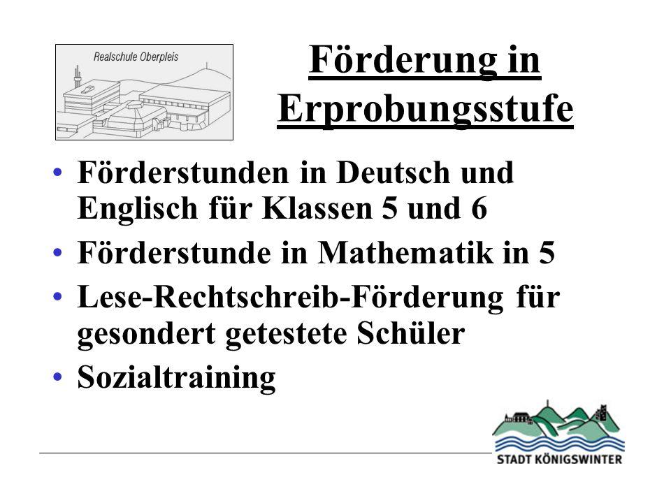 Förderung in Erprobungsstufe Förderstunden in Deutsch und Englisch für Klassen 5 und 6 Förderstunde in Mathematik in 5 Lese-Rechtschreib-Förderung für gesondert getestete Schüler Sozialtraining