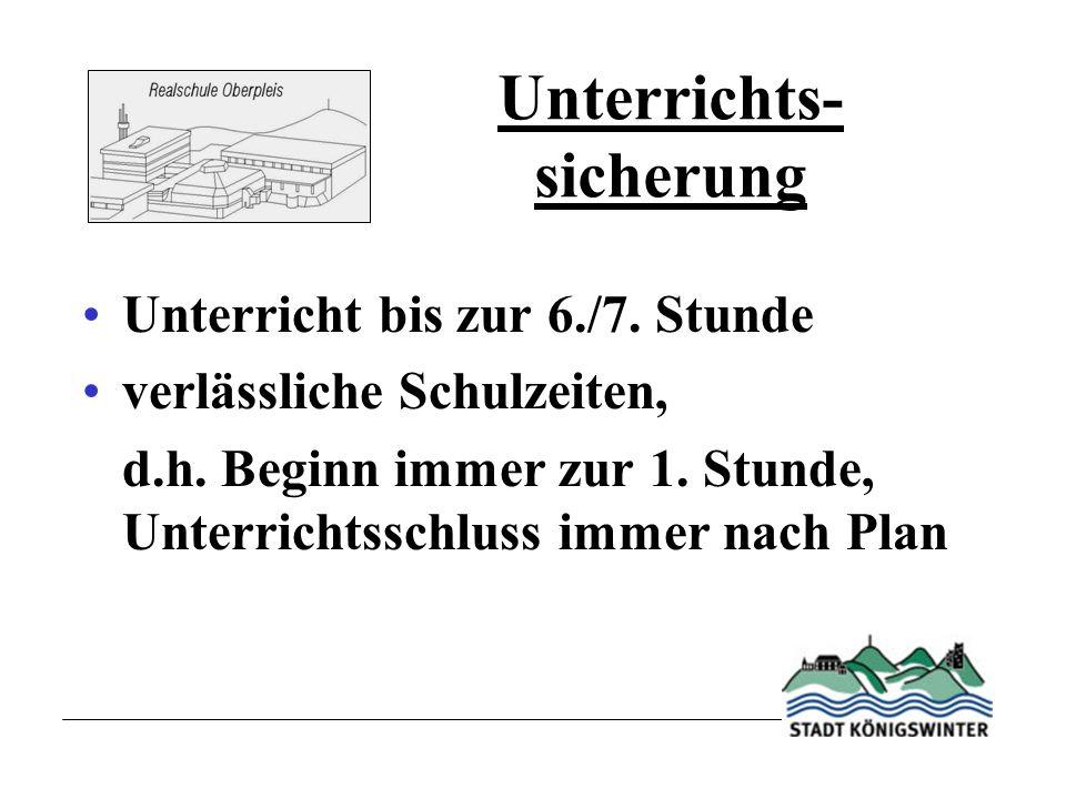 Unterrichts- sicherung Unterricht bis zur 6./7.Stunde verlässliche Schulzeiten, d.h.
