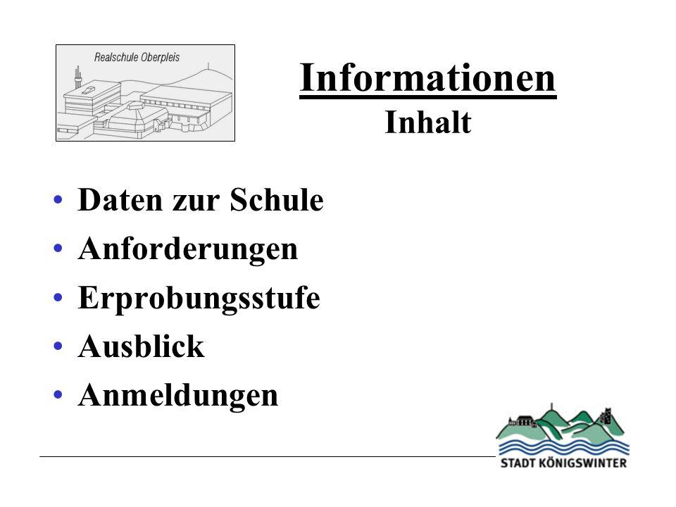 Informationen Inhalt Daten zur Schule Anforderungen Erprobungsstufe Ausblick Anmeldungen