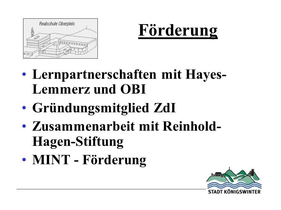 Förderung Lernpartnerschaften mit Hayes- Lemmerz und OBI Gründungsmitglied ZdI Zusammenarbeit mit Reinhold- Hagen-Stiftung MINT - Förderung