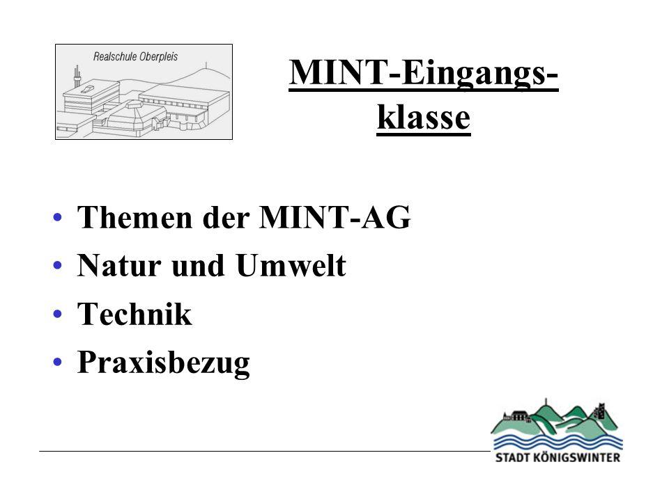 MINT-Eingangs- klasse Themen der MINT-AG Natur und Umwelt Technik Praxisbezug
