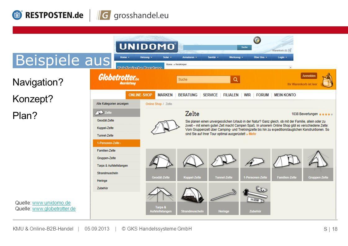Beispiele aus dem echten Leben: Navigation? Konzept? Plan? S | 18 KMU & Online-B2B-Handel | 05.09.2013 | © GKS Handelssysteme GmbH Quelle: www.unidomo