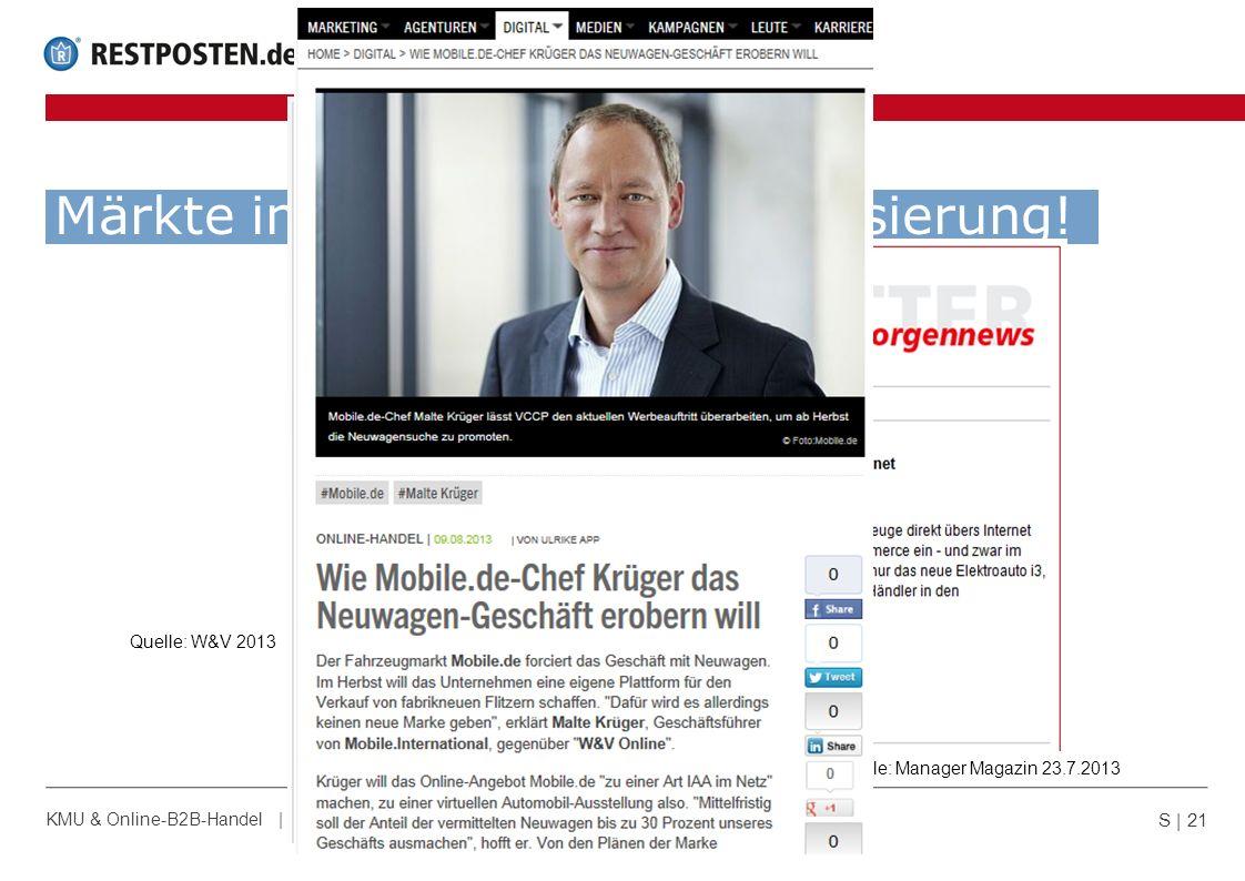 Märkte in Bewegung - Vertikalisierung! S | 21 KMU & Online-B2B-Handel | 05.09.2013 | © GKS Handelssysteme GmbH Quelle: IWB 22.7.2013Quelle: Manager Ma