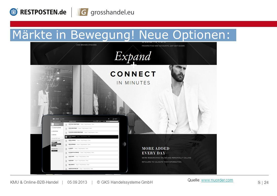 Märkte in Bewegung! Neue Optionen: S | 24 KMU & Online-B2B-Handel | 05.09.2013 | © GKS Handelssysteme GmbH Quelle: www.nuorder.comwww.nuorder.com