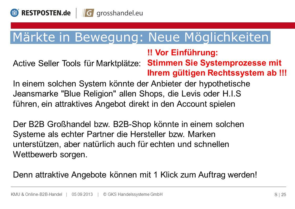 Märkte in Bewegung: Neue Möglichkeiten S | 25 KMU & Online-B2B-Handel | 05.09.2013 | © GKS Handelssysteme GmbH Active Seller Tools für Marktplätze: In