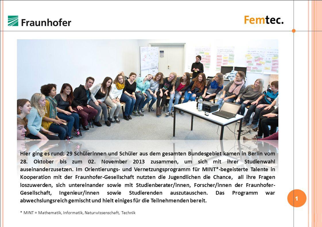 1 / 22 Hier ging es rund: 29 Schülerinnen und Schüler aus dem gesamten Bundesgebiet kamen in Berlin vom 28.