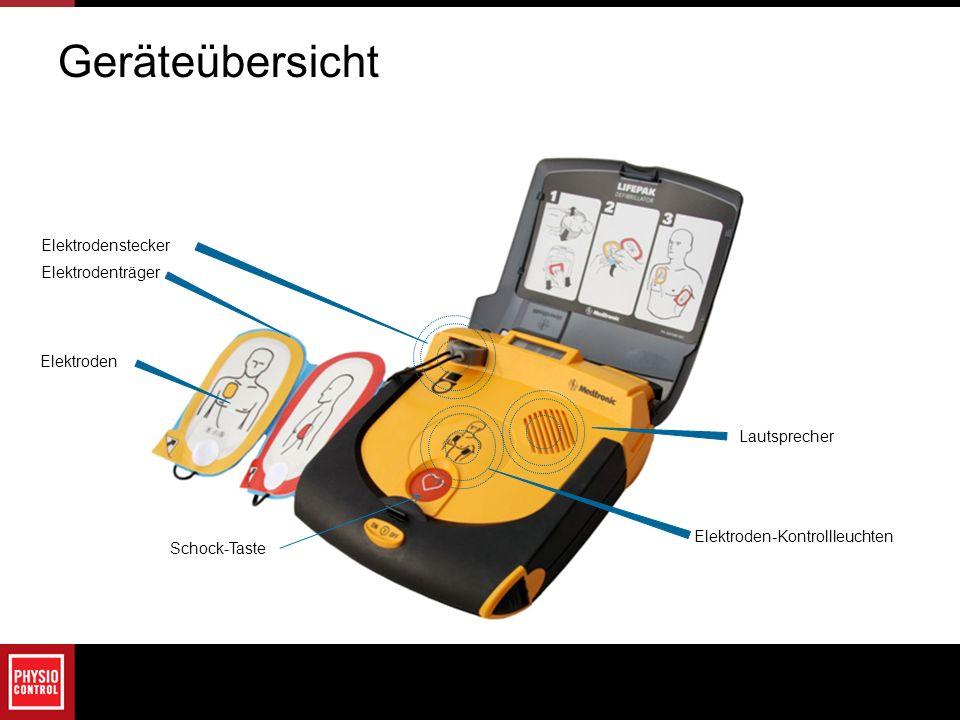 Geräteübersicht Lautsprecher Elektroden-Kontrollleuchten Elektrodenträger Elektrodenstecker Schock-Taste Elektroden