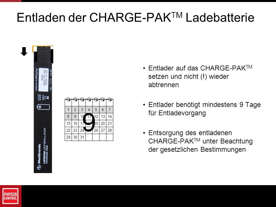 Entlader auf das CHARGE-PAK TM setzen und nicht (!) wieder abtrennen Entlader benötigt mindestens 9 Tage für Entladevorgang Entsorgung des entladenen