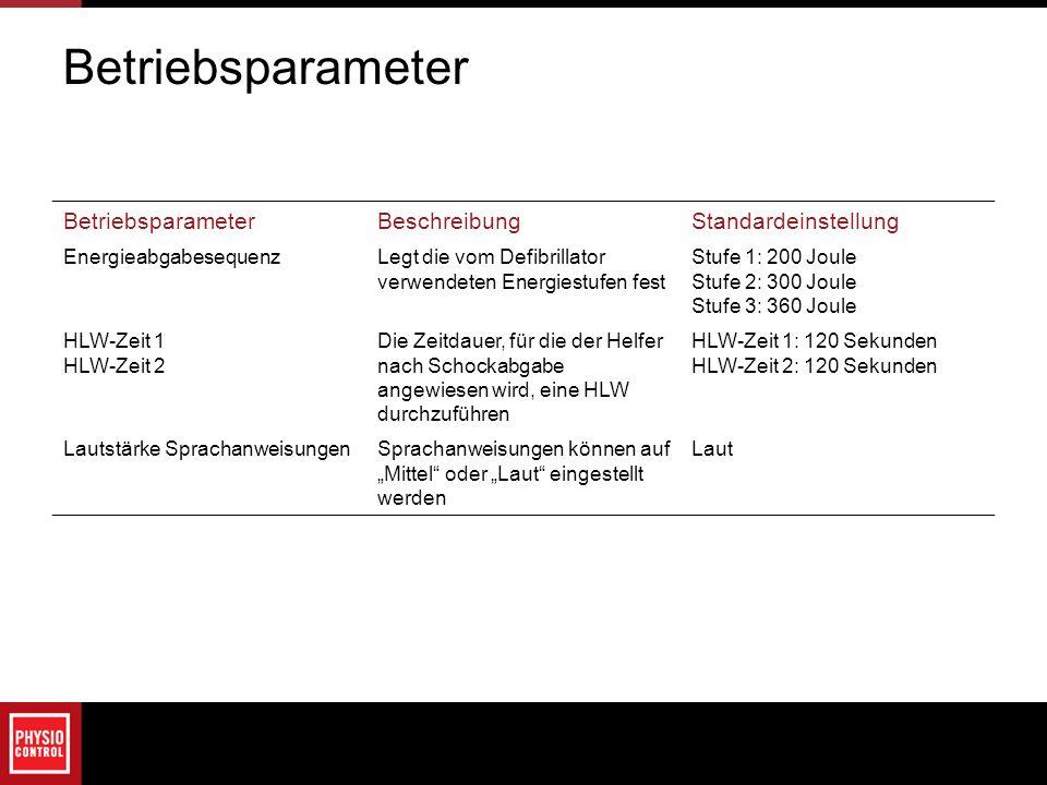 BeschreibungStandardeinstellung EnergieabgabesequenzLegt die vom Defibrillator verwendeten Energiestufen fest Stufe 1: 200 Joule Stufe 2: 300 Joule St