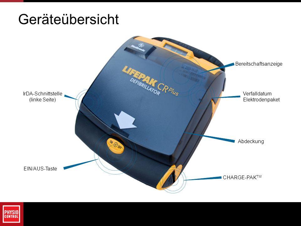 IrDA-Schnittstelle (linke Seite) EIN/AUS-Taste Verfalldatum Elektrodenpaket Bereitschaftsanzeige CHARGE-PAK TM Abdeckung