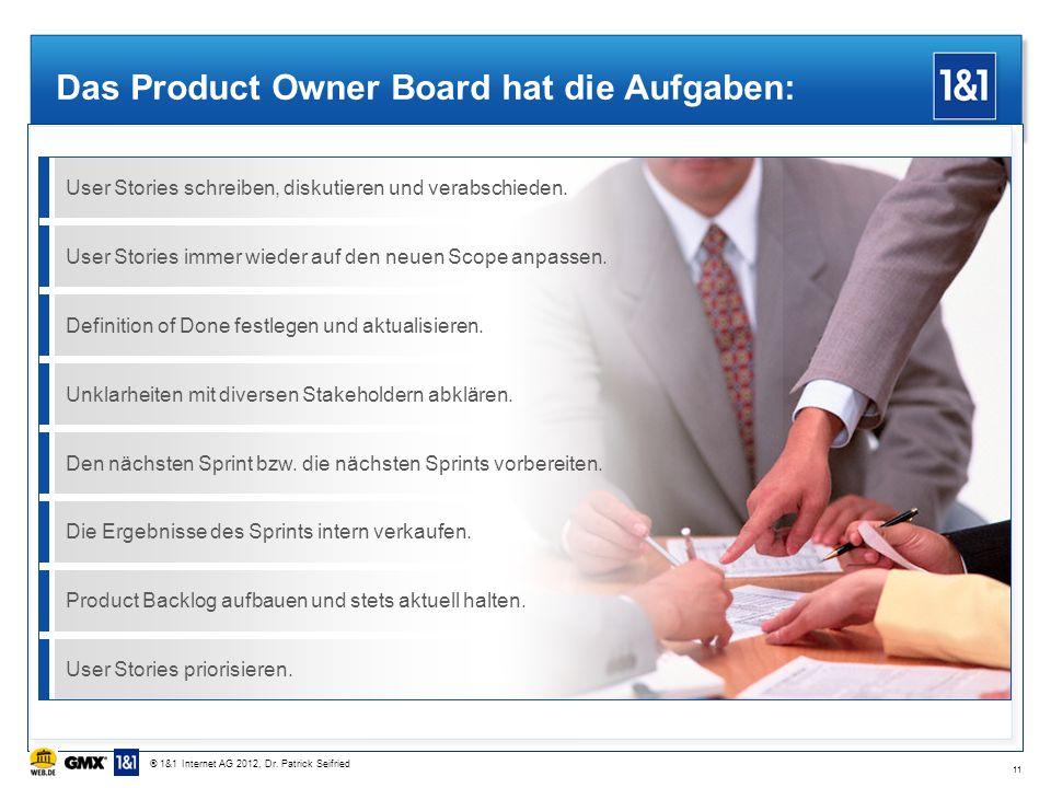 Das Product Owner Board hat die Aufgaben: 11 User Stories schreiben, diskutieren und verabschieden.User Stories immer wieder auf den neuen Scope anpas