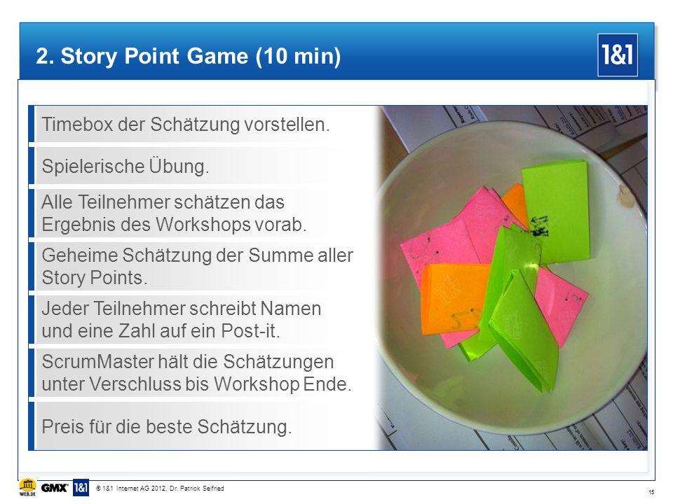 Timebox der Schätzung vorstellen.Spielerische Übung. Alle Teilnehmer schätzen das Ergebnis des Workshops vorab. Geheime Schätzung der Summe aller Stor