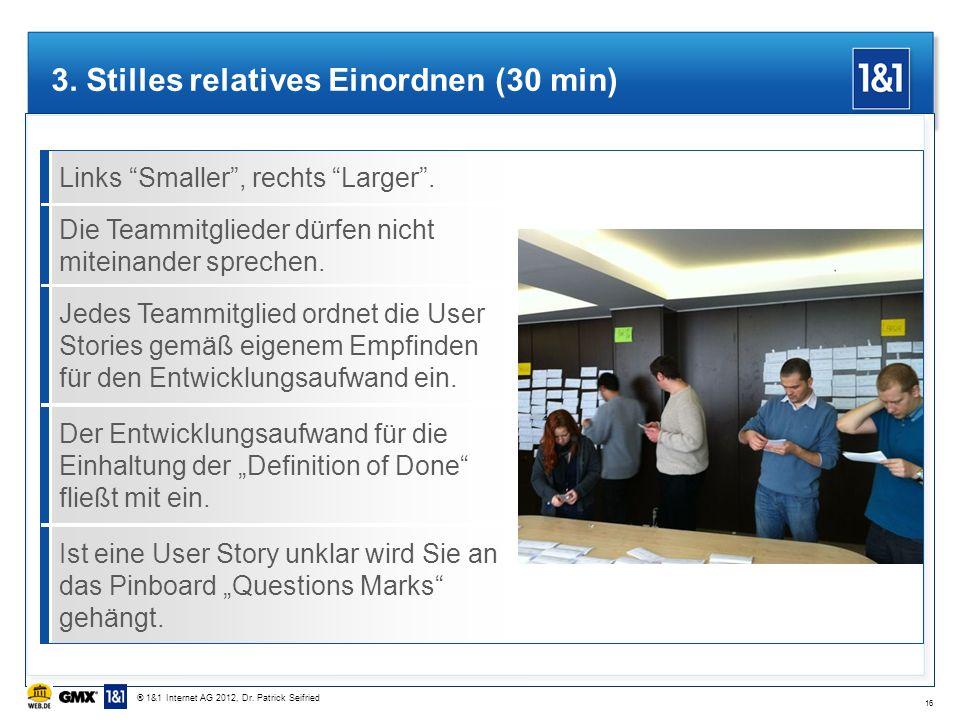 Links Smaller, rechts Larger. 3. Stilles relatives Einordnen (30 min) Die Teammitglieder dürfen nicht miteinander sprechen. Jedes Teammitglied ordnet