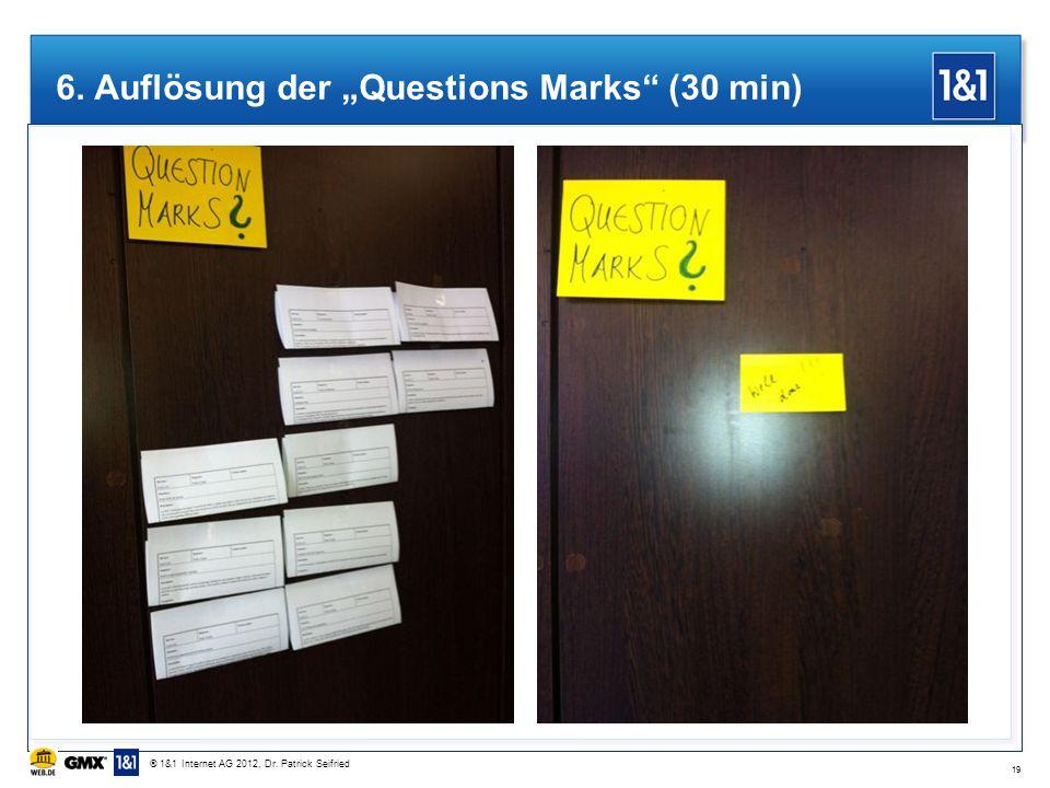 6. Auflösung der Questions Marks (30 min) 19 ® 1&1 Internet AG 2012, Dr. Patrick Seifried