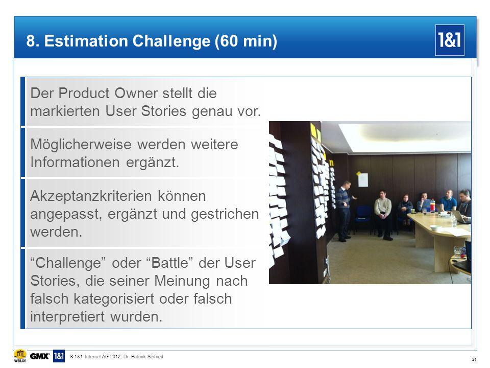 Der Product Owner stellt die markierten User Stories genau vor. 8. Estimation Challenge (60 min) Möglicherweise werden weitere Informationen ergänzt.