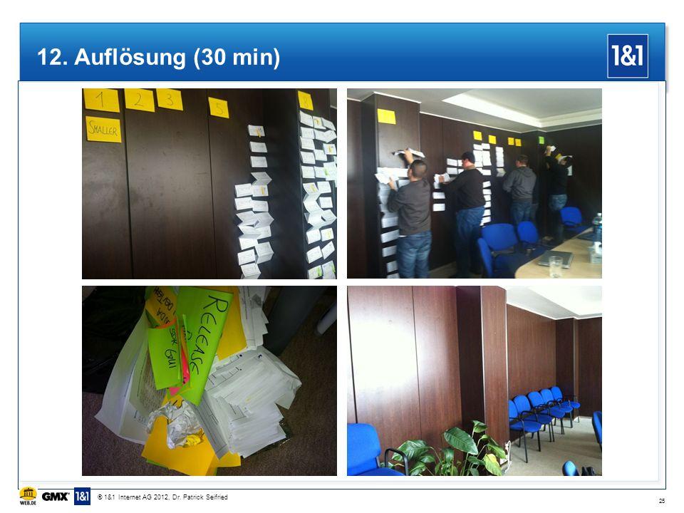 12. Auflösung (30 min) 25 ® 1&1 Internet AG 2012, Dr. Patrick Seifried
