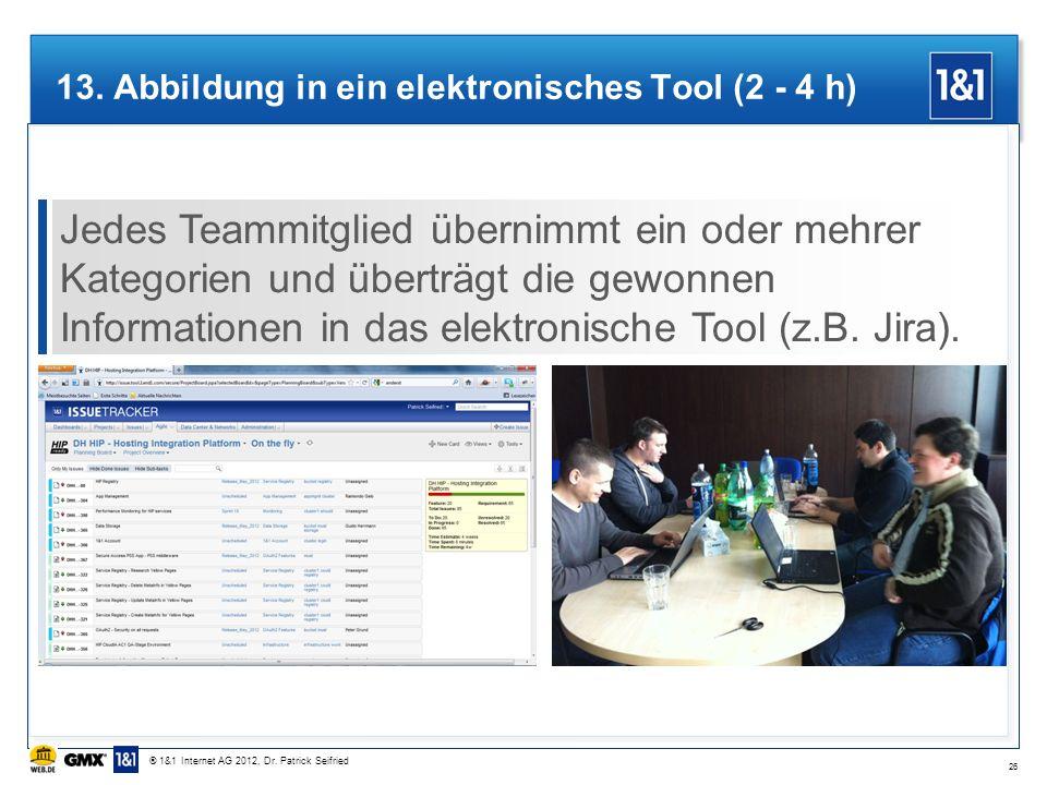 13. Abbildung in ein elektronisches Tool (2 - 4 h) Jedes Teammitglied übernimmt ein oder mehrer Kategorien und überträgt die gewonnen Informationen in