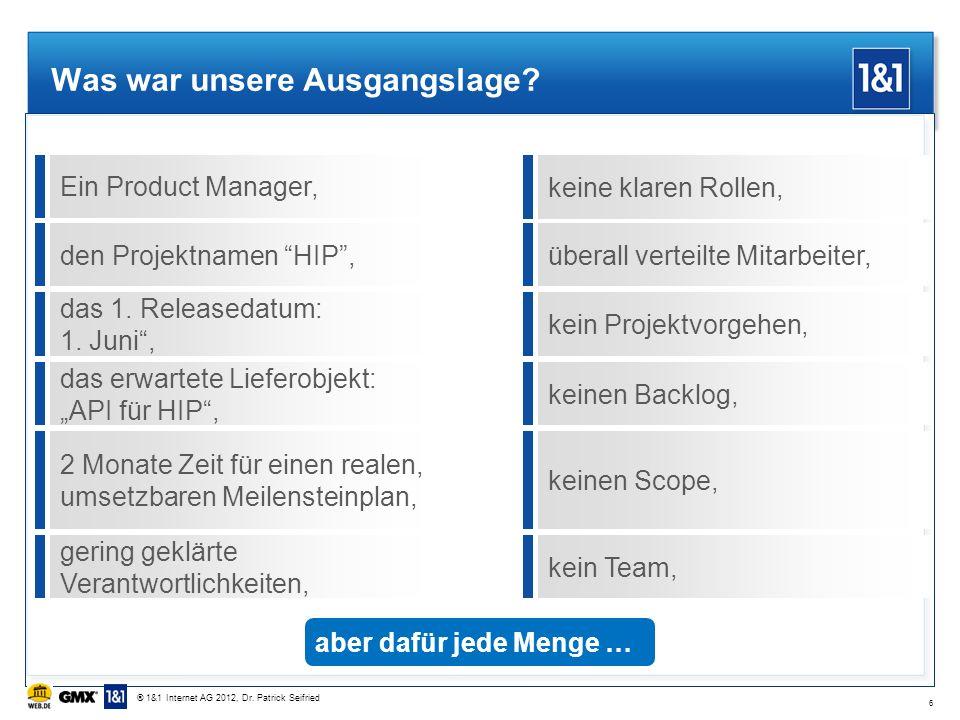 Was war unsere Ausgangslage? Ein Product Manager,den Projektnamen HIP, das 1. Releasedatum: 1. Juni, das erwartete Lieferobjekt: API für HIP, 2 Monate