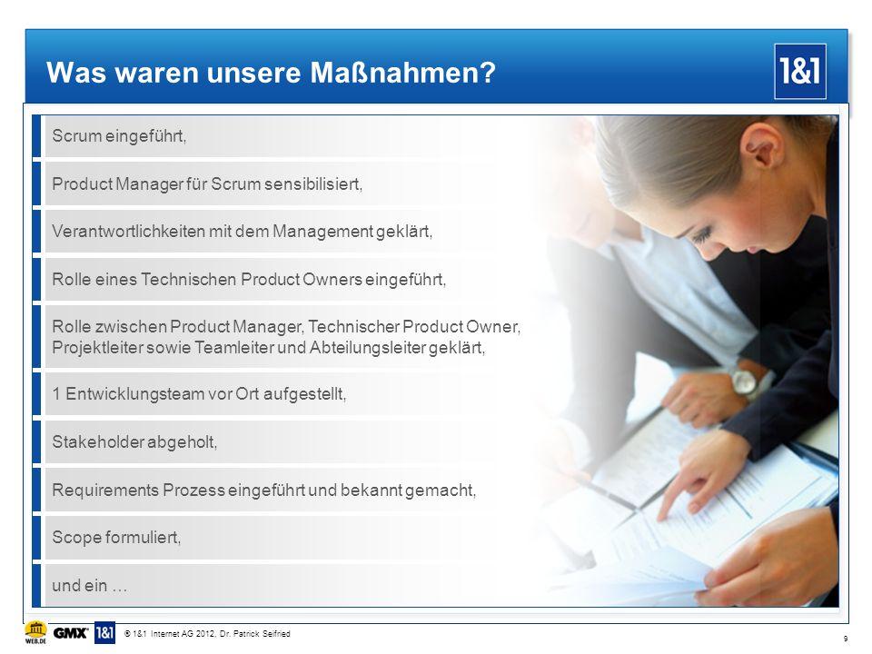 Was waren unsere Maßnahmen? Scrum eingeführt, Product Manager für Scrum sensibilisiert, Verantwortlichkeiten mit dem Management geklärt,Rolle eines Te