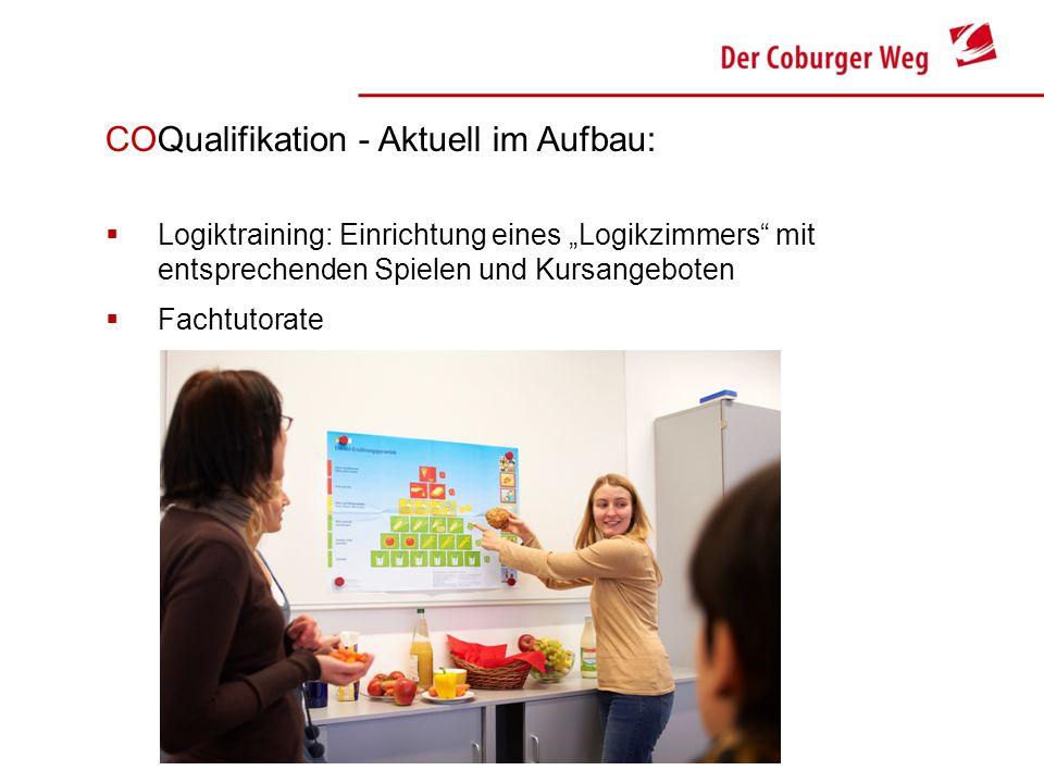 COQualifikation - Aktuell im Aufbau: Logiktraining: Einrichtung eines Logikzimmers mit entsprechenden Spielen und Kursangeboten Fachtutorate