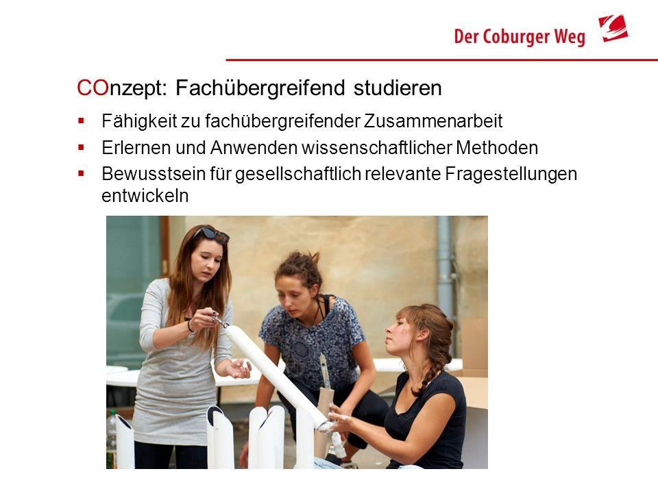 COnzept: Fachübergreifend studieren Fähigkeit zu fachübergreifender Zusammenarbeit Erlernen und Anwenden wissenschaftlicher Methoden Bewusstsein für g