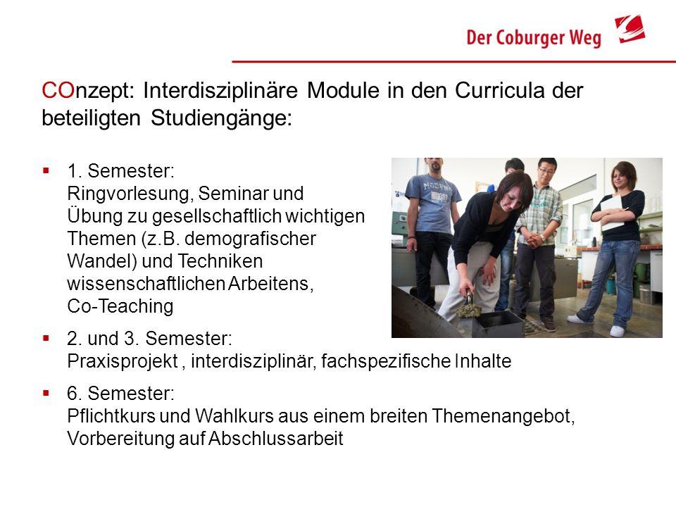 COnzept: Interdisziplinäre Module in den Curricula der beteiligten Studiengänge: 1. Semester: Ringvorlesung, Seminar und Übung zu gesellschaftlich wic