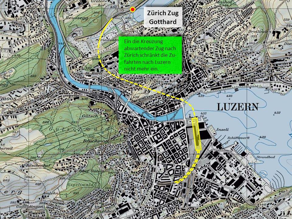 Zürich Zug Gotthard Zürich Zug Gotthard Ein die Kreuzung abwartender Zug nach Zürich schränkt die Zu- fahrten nach Luzern nicht mehr ein.