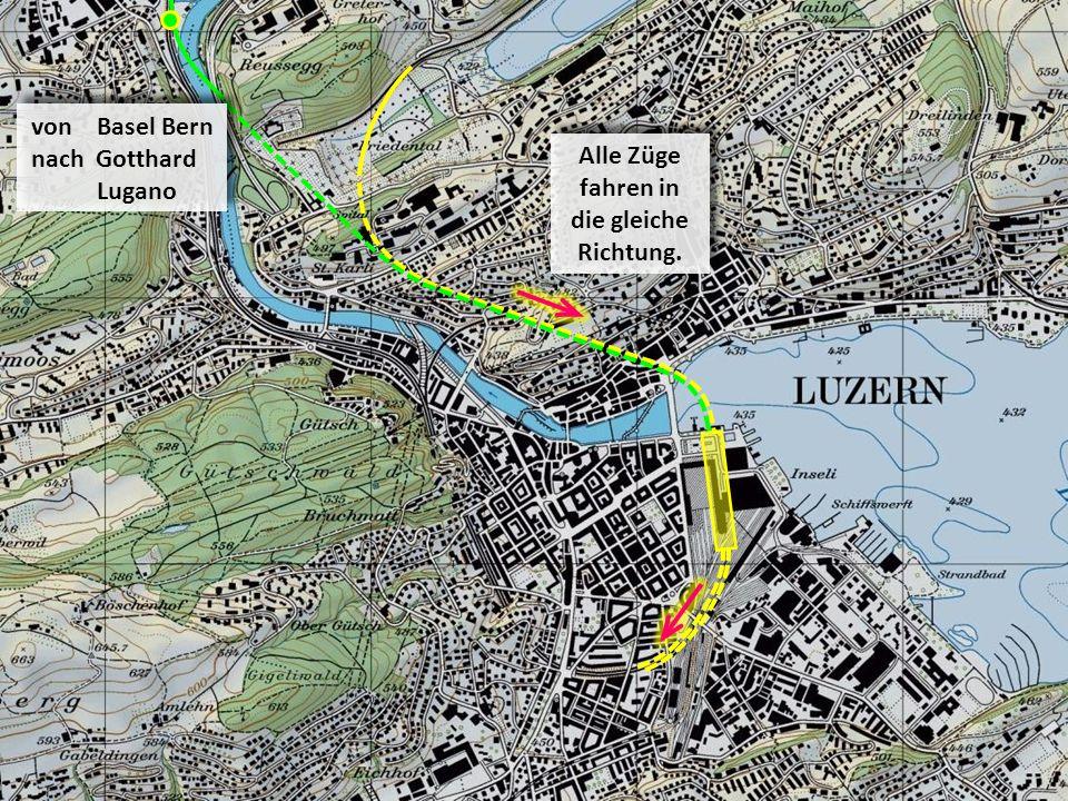 Alle Züge fahren in die gleiche Richtung. von Basel Bern nach Gotthard Lugano von Basel Bern nach Gotthard Lugano