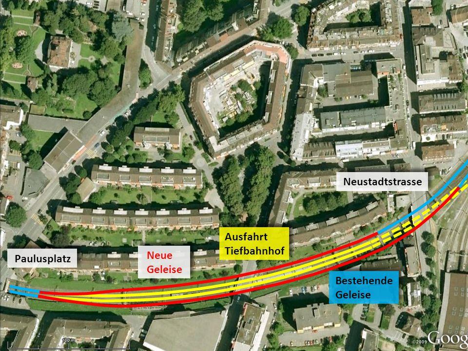 Bestehende Geleise Neue Geleise Ausfahrt Tiefbahnhof Paulusplatz Neustadtstrasse