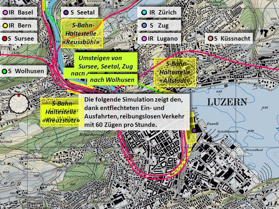 S-Bahn- Haltestelle «Altstadt» IR Zürich S Zug IR Lugano S Küssnacht S Wolhusen IR Basel IR Bern S Sursee S Seetal Umsteigen von Wolhusen nach Sursee