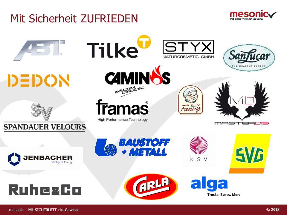 mesonic – Mit SICHERHEIT ein Gewinn © 2013 Mit Sicherheit ZUFRIEDEN