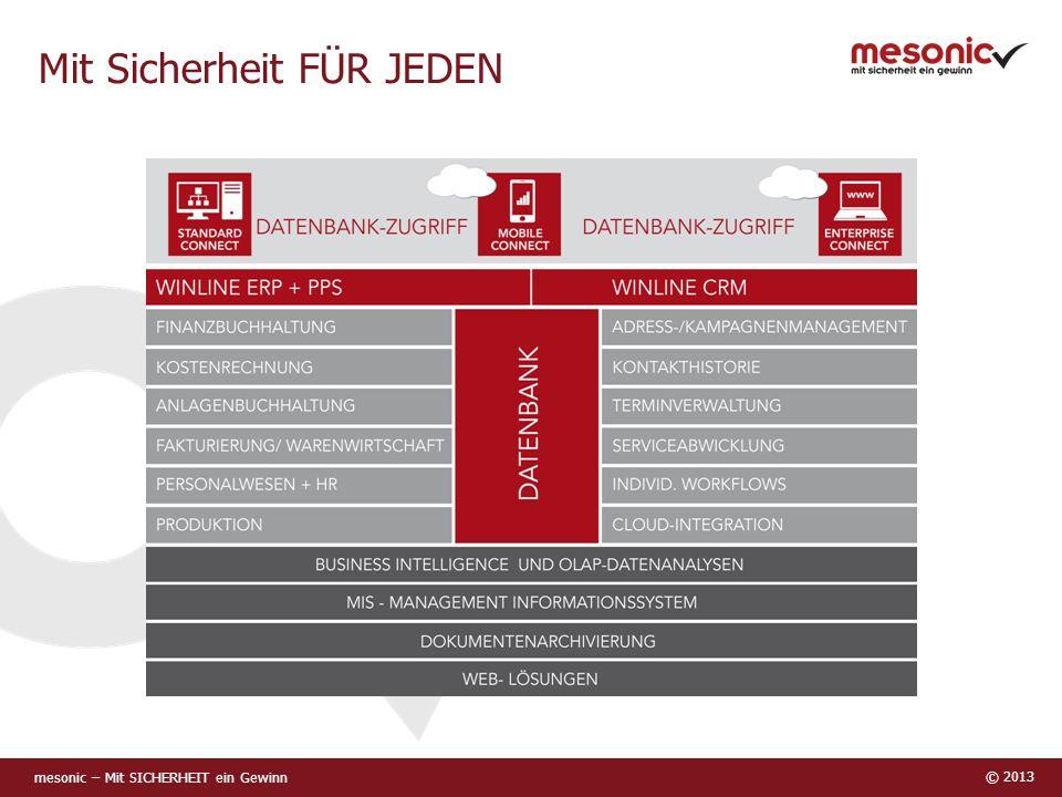mesonic – Mit SICHERHEIT ein Gewinn © 2013 Mit Sicherheit FÜR JEDEN