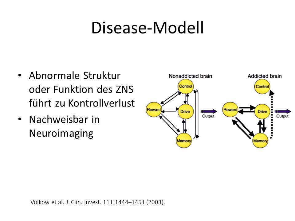 Disease-Modell Abnormale Struktur oder Funktion des ZNS führt zu Kontrollverlust Nachweisbar in Neuroimaging Volkow et al. J. Clin. Invest. 111:1444–1