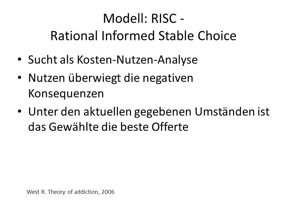Modell: RISC - Rational Informed Stable Choice Sucht als Kosten-Nutzen-Analyse Nutzen überwiegt die negativen Konsequenzen Unter den aktuellen gegeben