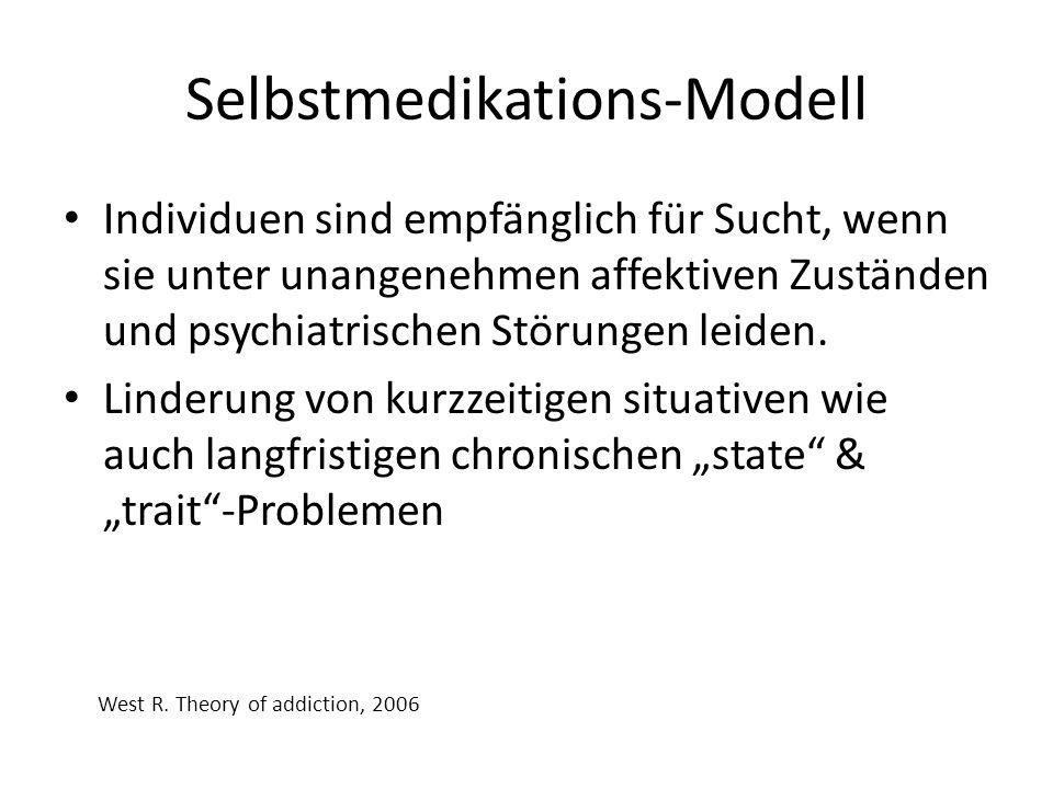 Selbstmedikations-Modell Individuen sind empfänglich für Sucht, wenn sie unter unangenehmen affektiven Zuständen und psychiatrischen Störungen leiden.