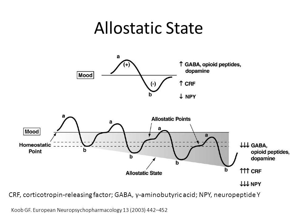 Allostatic State CRF, corticotropin-releasing factor; GABA, γ-aminobutyric acid; NPY, neuropeptide Y Koob GF. European Neuropsychopharmacology 13 (200