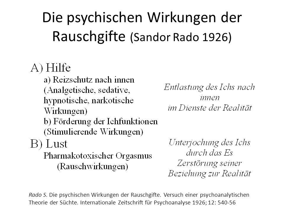 Die psychischen Wirkungen der Rauschgifte (Sandor Rado 1926) Rado S. Die psychischen Wirkungen der Rauschgifte. Versuch einer psychoanalytischen Theor