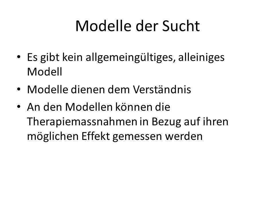 Modelle der Sucht Es gibt kein allgemeingültiges, alleiniges Modell Modelle dienen dem Verständnis An den Modellen können die Therapiemassnahmen in Be