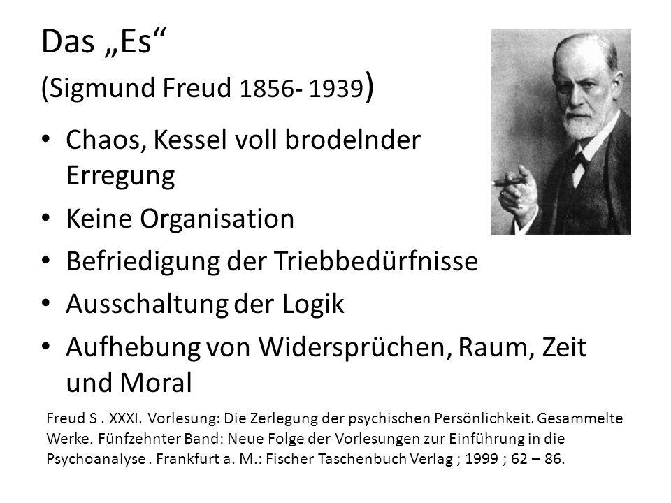 Das Es (Sigmund Freud 1856- 1939 ) Chaos, Kessel voll brodelnder Erregung Keine Organisation Befriedigung der Triebbedürfnisse Ausschaltung der Logik